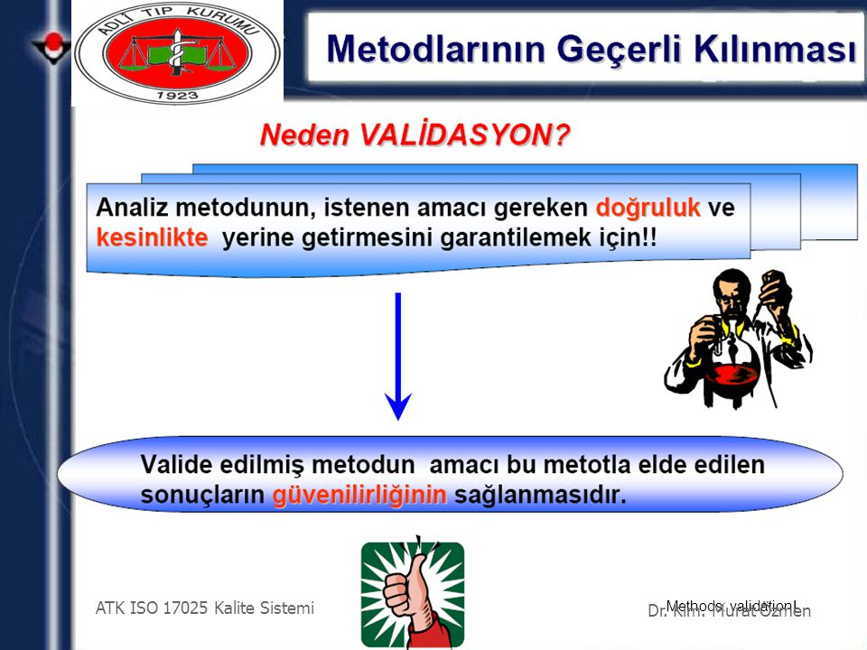 ATK ISO 17025 Kalite Sistemi Dr. Kim. Murat Özmen Methods: validation!