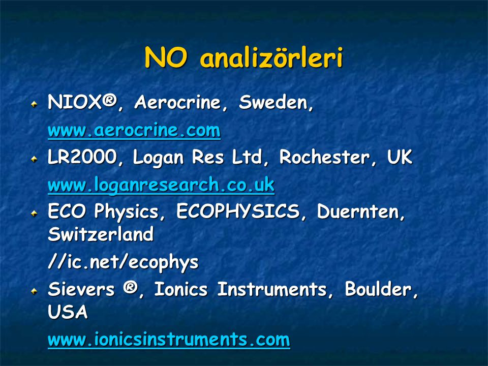 NO analizörleri NIOX®, Aerocrine, Sweden, www.aerocrine.com