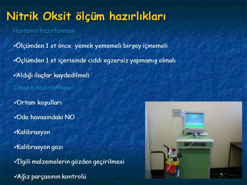 Nitrik Oksit ölçüm hazırlıkları