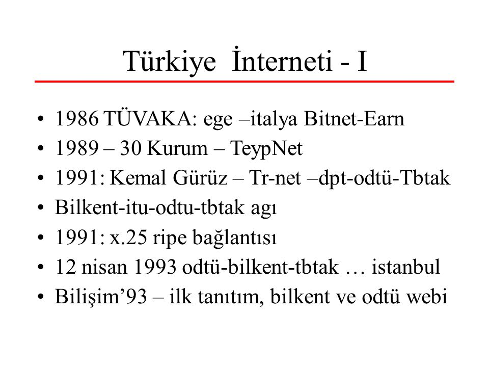 Türkiye İnterneti - I 1986 TÜVAKA: ege –italya Bitnet-Earn