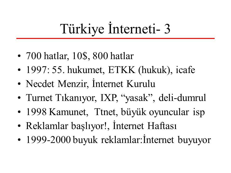 Türkiye İnterneti- 3 700 hatlar, 10$, 800 hatlar