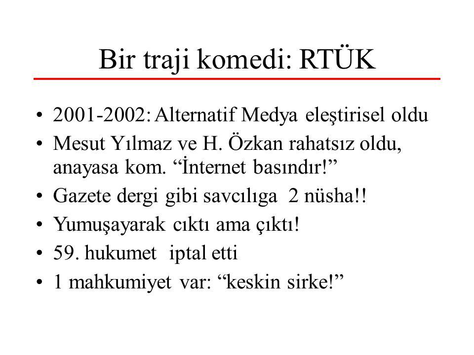 Bir traji komedi: RTÜK 2001-2002: Alternatif Medya eleştirisel oldu