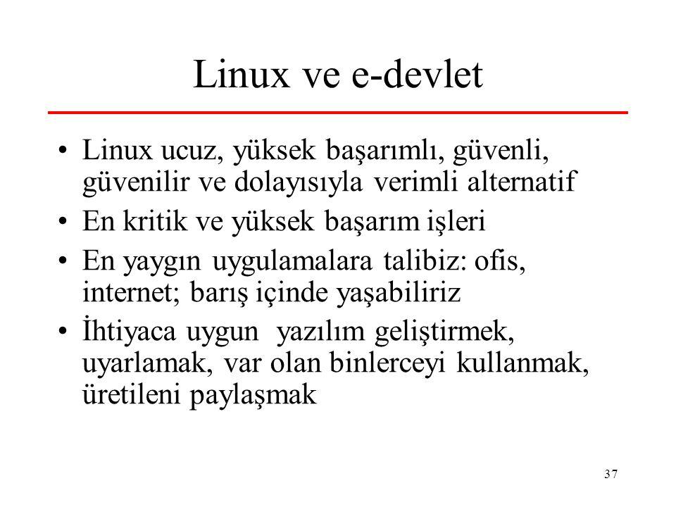 Linux ve e-devlet Linux ucuz, yüksek başarımlı, güvenli, güvenilir ve dolayısıyla verimli alternatif.