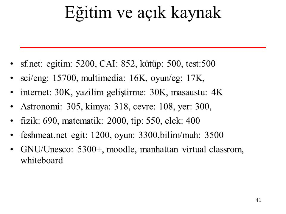 Eğitim ve açık kaynak sf.net: egitim: 5200, CAI: 852, kütüp: 500, test:500. sci/eng: 15700, multimedia: 16K, oyun/eg: 17K,