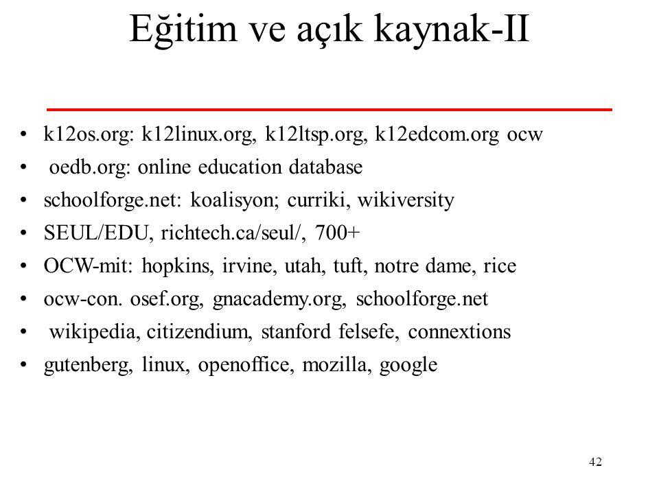 Eğitim ve açık kaynak-II