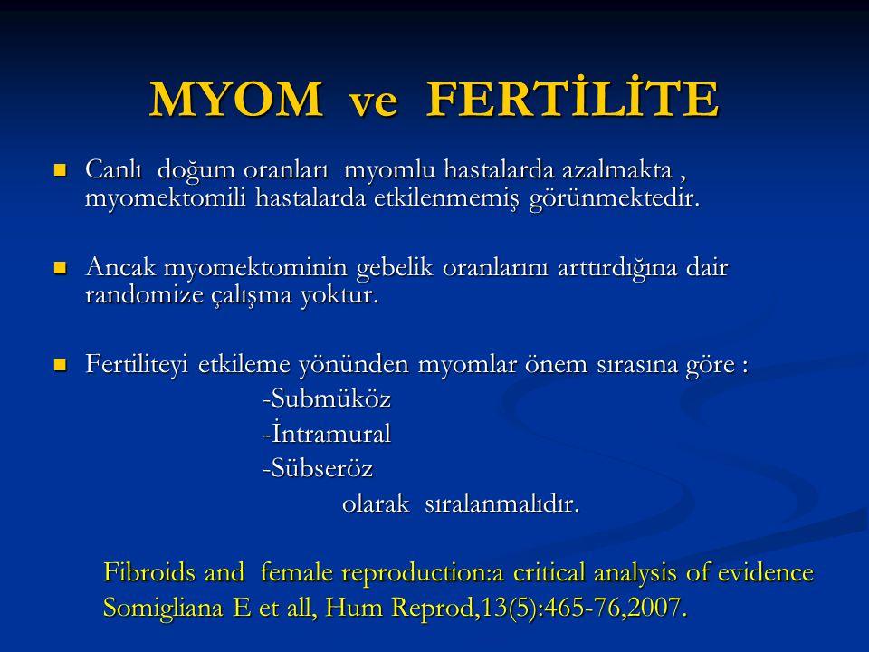 MYOM ve FERTİLİTE Canlı doğum oranları myomlu hastalarda azalmakta , myomektomili hastalarda etkilenmemiş görünmektedir.