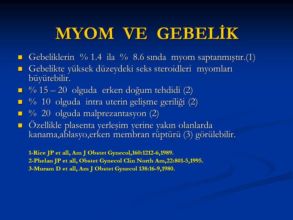MYOM VE GEBELİK Gebeliklerin % 1.4 ila % 8.6 sında myom saptanmıştır.(1) Gebelikte yüksek düzeydeki seks steroidleri myomları büyütebilir.