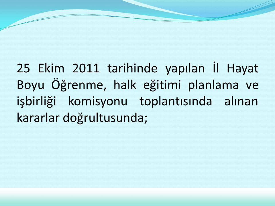 25 Ekim 2011 tarihinde yapılan İl Hayat Boyu Öğrenme, halk eğitimi planlama ve işbirliği komisyonu toplantısında alınan kararlar doğrultusunda;