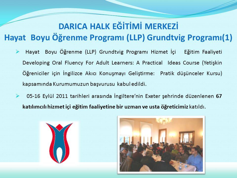 DARICA HALK EĞİTİMİ MERKEZİ Hayat Boyu Öğrenme Programı (LLP) Grundtvig Programı(1)