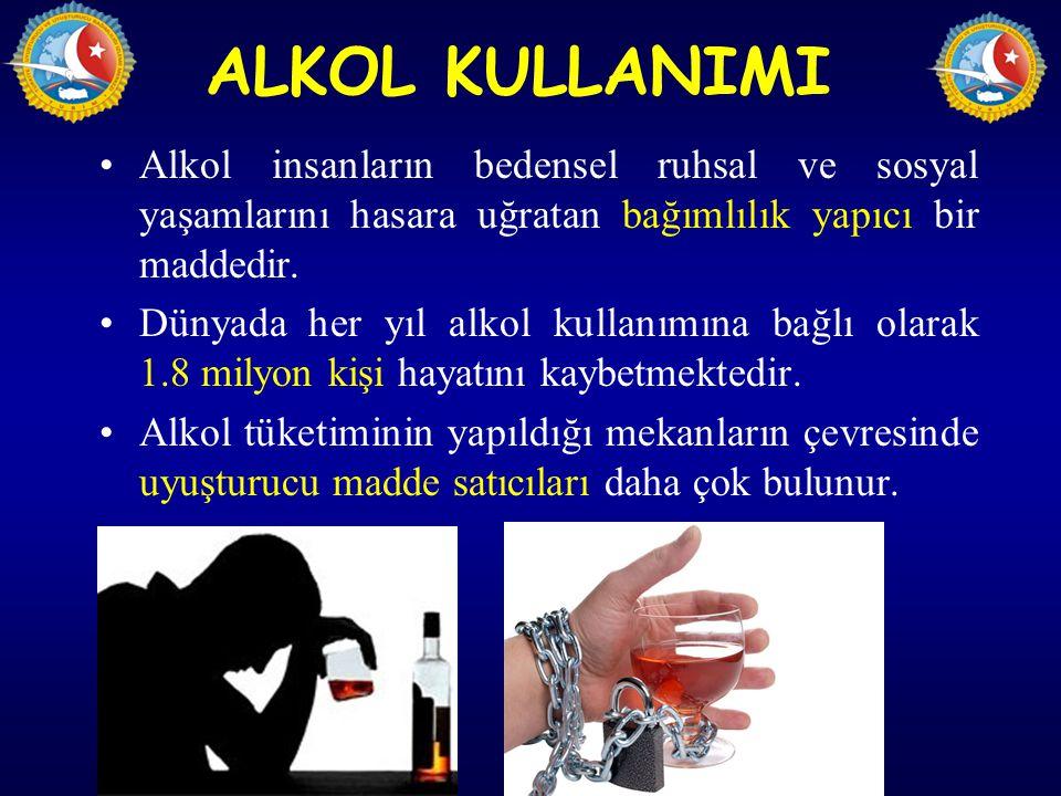 ALKOL KULLANIMI Alkol insanların bedensel ruhsal ve sosyal yaşamlarını hasara uğratan bağımlılık yapıcı bir maddedir.