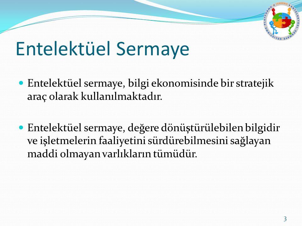 Entelektüel Sermaye Entelektüel sermaye, bilgi ekonomisinde bir stratejik araç olarak kullanılmaktadır.