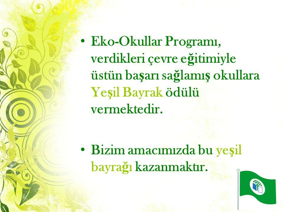 Eko-Okullar Programı, verdikleri çevre eğitimiyle üstün başarı sağlamış okullara Yeşil Bayrak ödülü vermektedir.