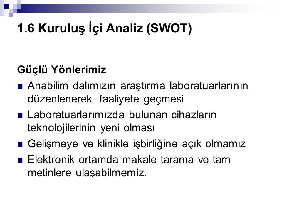 1.6 Kuruluş İçi Analiz (SWOT)