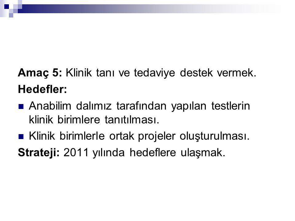 Amaç 5: Klinik tanı ve tedaviye destek vermek.