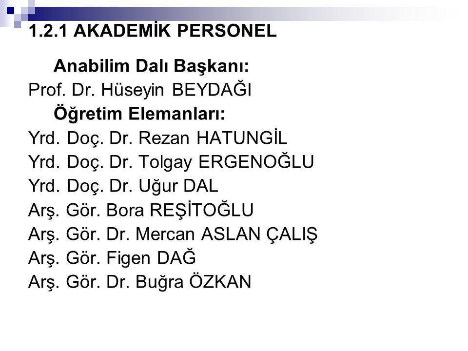 1.2.1 AKADEMİK PERSONEL Anabilim Dalı Başkanı: Prof. Dr. Hüseyin BEYDAĞI. Öğretim Elemanları: Yrd. Doç. Dr. Rezan HATUNGİL.
