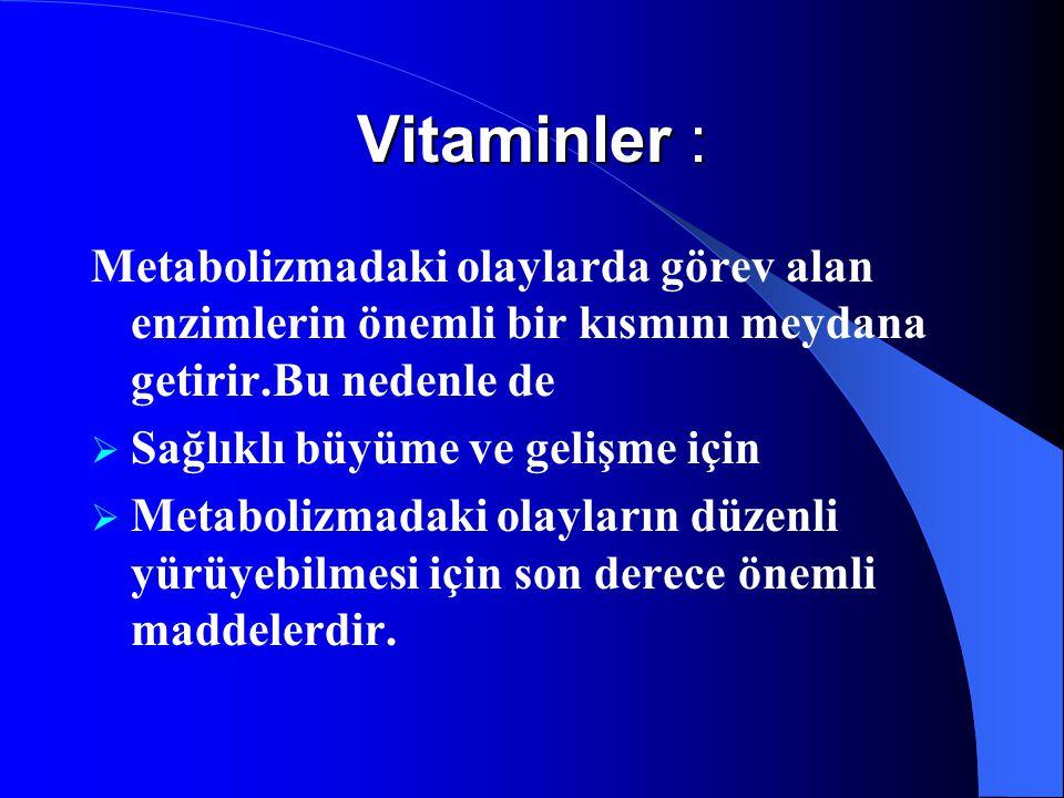 Vitaminler : Metabolizmadaki olaylarda görev alan enzimlerin önemli bir kısmını meydana getirir.Bu nedenle de.
