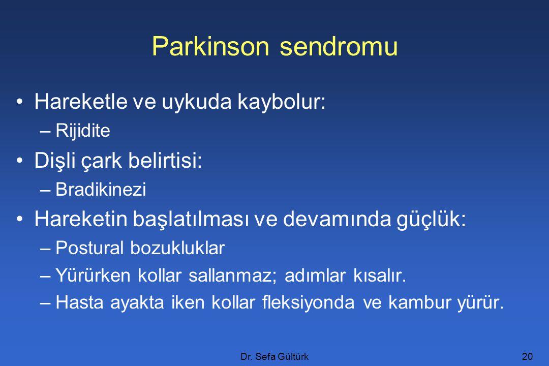 Parkinson sendromu Hareketle ve uykuda kaybolur: Dişli çark belirtisi: