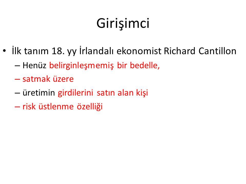 Girişimci İlk tanım 18. yy İrlandalı ekonomist Richard Cantillon