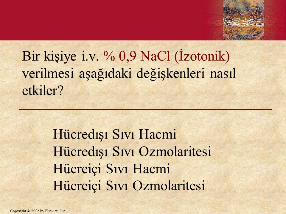 Bir kişiye i.v. % 0,9 NaCl (İzotonik) verilmesi aşağıdaki değişkenleri nasıl etkiler