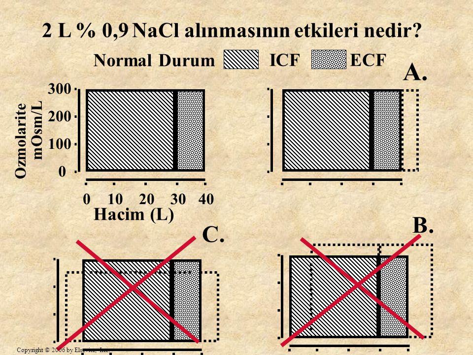 A. B. C. 2 L % 0,9 NaCl alınmasının etkileri nedir Normal Durum ICF