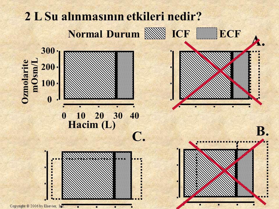 A. B. C. 2 L Su alınmasının etkileri nedir Normal Durum ICF ECF
