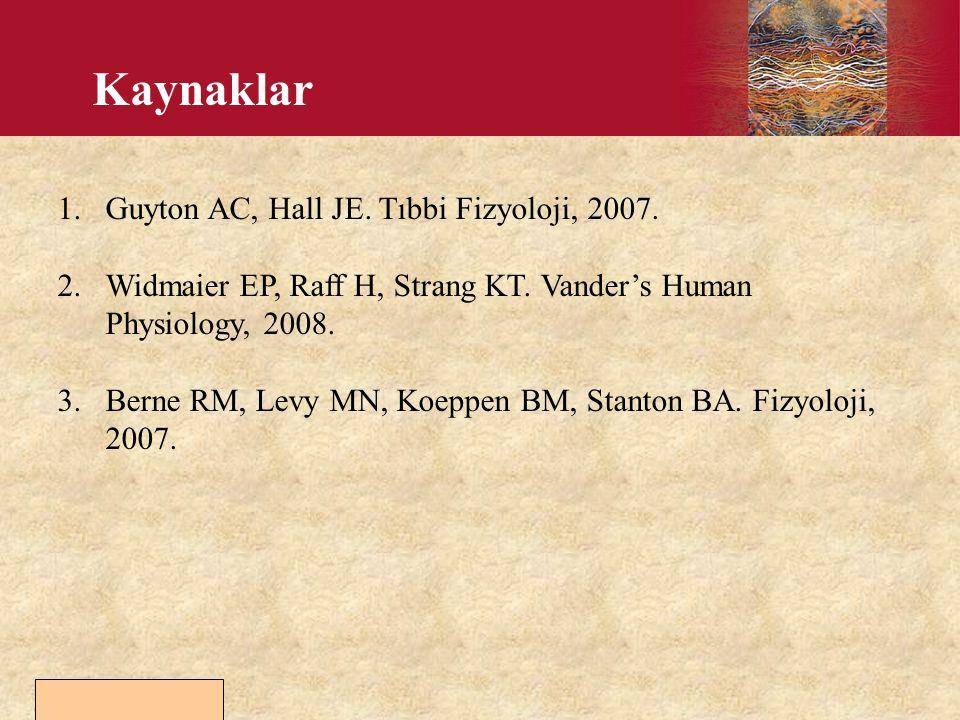 Kaynaklar Guyton AC, Hall JE. Tıbbi Fizyoloji, 2007.
