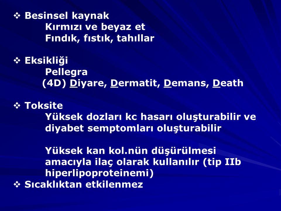 Besinsel kaynak Kırmızı ve beyaz et. Fındık, fıstık, tahıllar. Eksikliği. Pellegra. (4D) Diyare, Dermatit, Demans, Death.