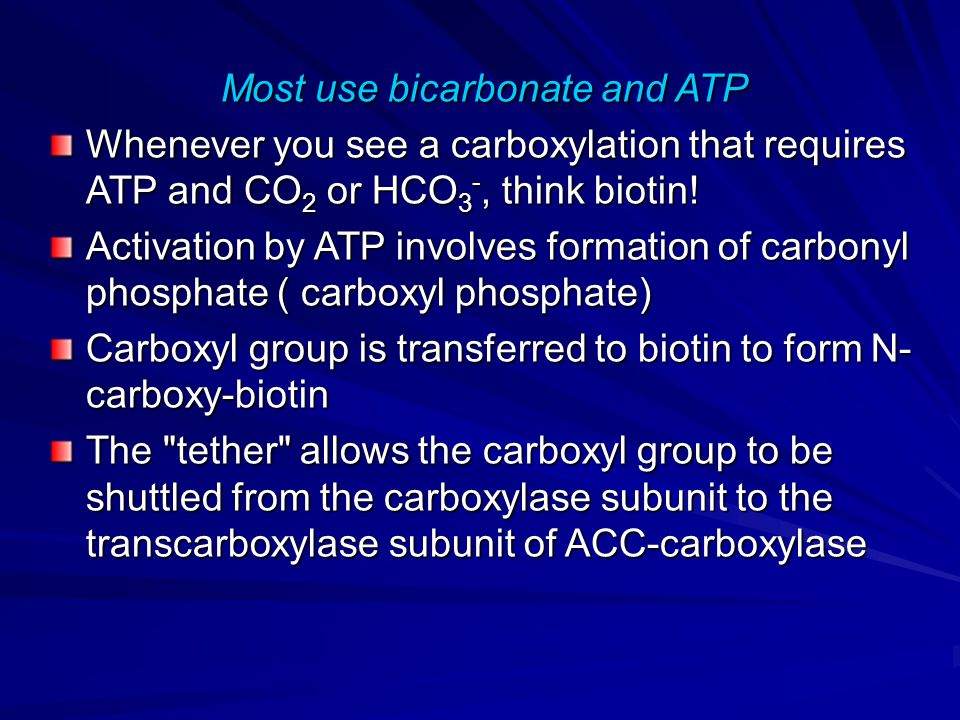 Most use bicarbonate and ATP