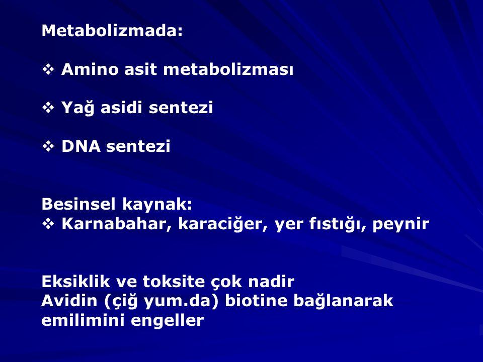 Metabolizmada: Amino asit metabolizması. Yağ asidi sentezi. DNA sentezi. Besinsel kaynak: Karnabahar, karaciğer, yer fıstığı, peynir.