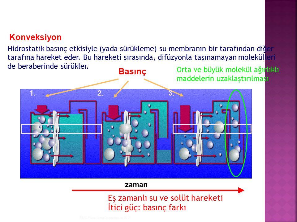 Eş zamanlı su ve solüt hareketi İtici güç: basınç farkı