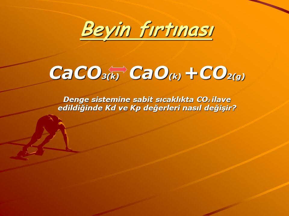 Beyin fırtınası CaCO3(k) CaO(k) +CO2(g)