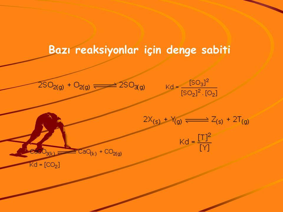 Bazı reaksiyonlar için denge sabiti