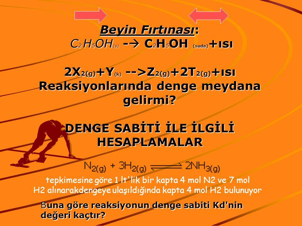 C2 H5OH(s) - C2H5OH (suda)+ısı 2X2(g)+Y(k) -->Z2(g)+2T2(g)+ısı