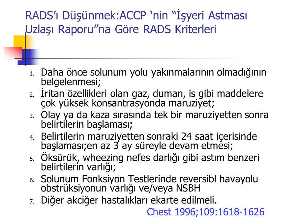 RADS'ı Düşünmek:ACCP 'nin İşyeri Astması Uzlaşı Raporu na Göre RADS Kriterleri