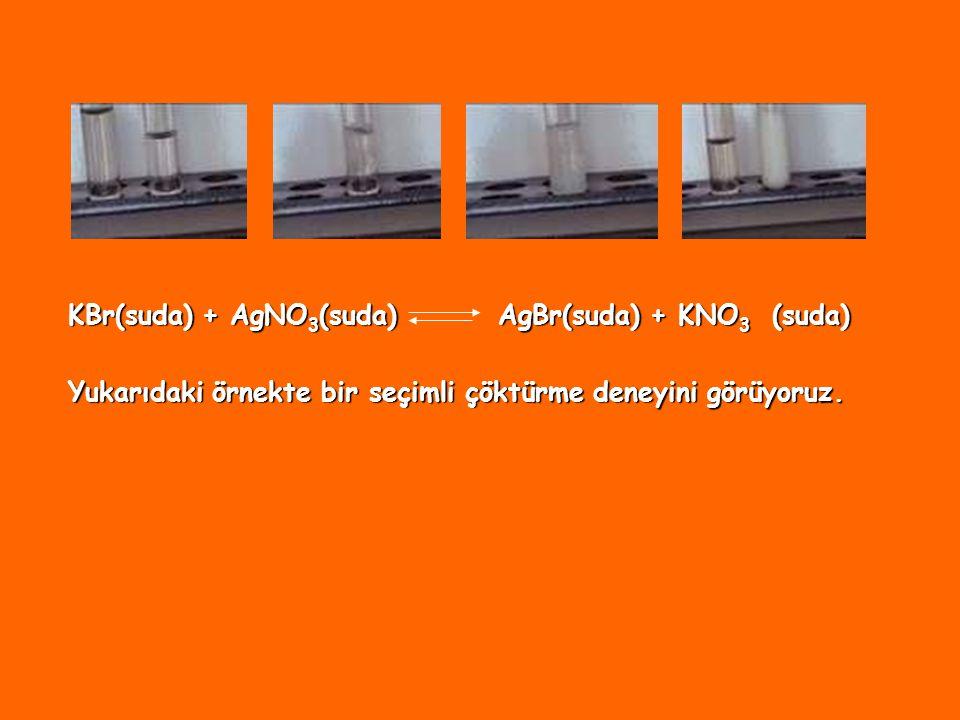 KBr(suda) + AgNO3(suda) AgBr(suda) + KNO3 (suda)