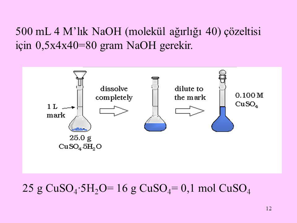 500 mL 4 M'lık NaOH (molekül ağırlığı 40) çözeltisi için 0,5x4x40=80 gram NaOH gerekir.