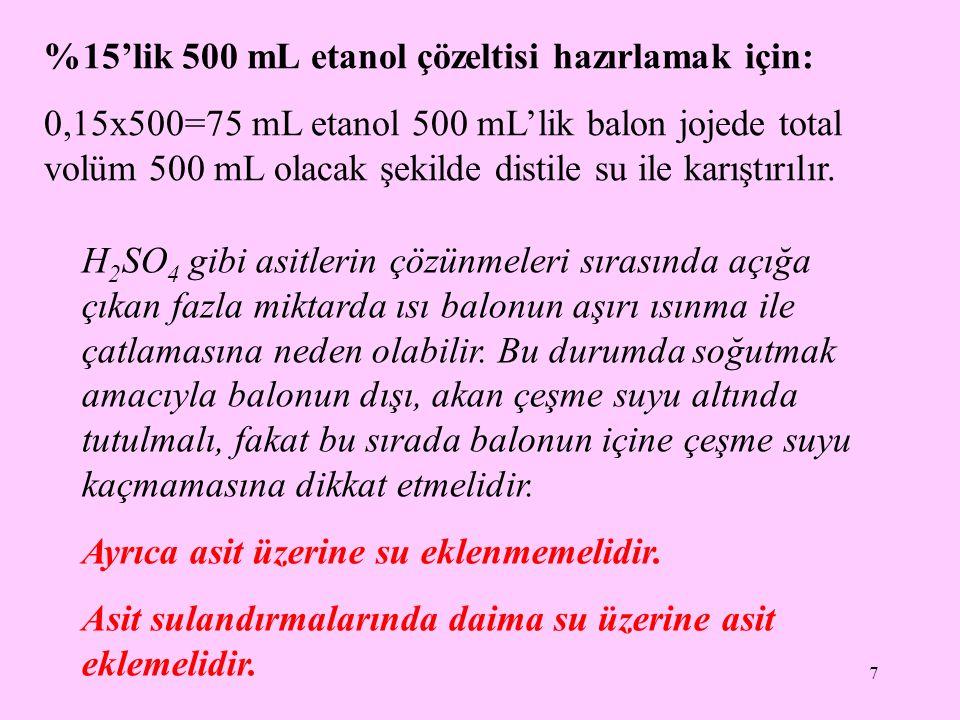 %15'lik 500 mL etanol çözeltisi hazırlamak için:
