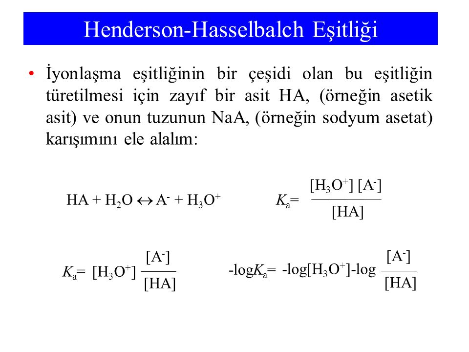 Henderson-Hasselbalch Eşitliği
