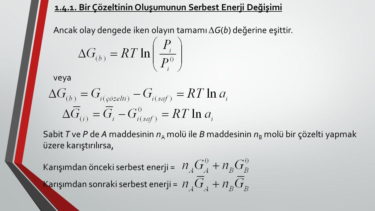 1.4.1. Bir Çözeltinin Oluşumunun Serbest Enerji Değişimi