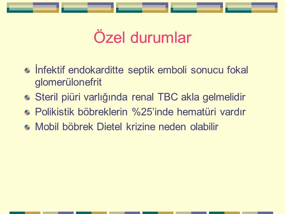 Özel durumlar İnfektif endokarditte septik emboli sonucu fokal glomerülonefrit. Steril piüri varlığında renal TBC akla gelmelidir.