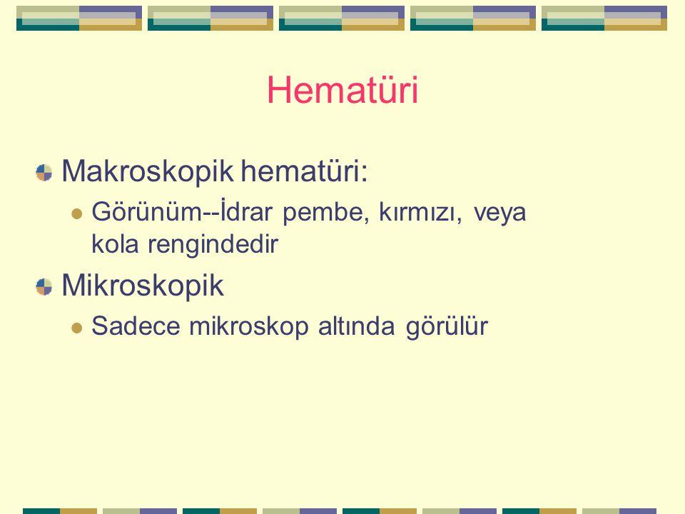 Hematüri Makroskopik hematüri: Mikroskopik