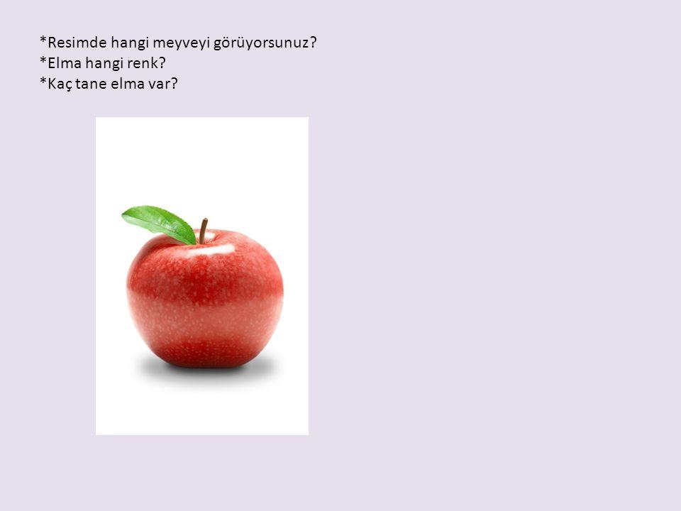 *Resimde hangi meyveyi görüyorsunuz *Elma hangi renk *Kaç tane elma var