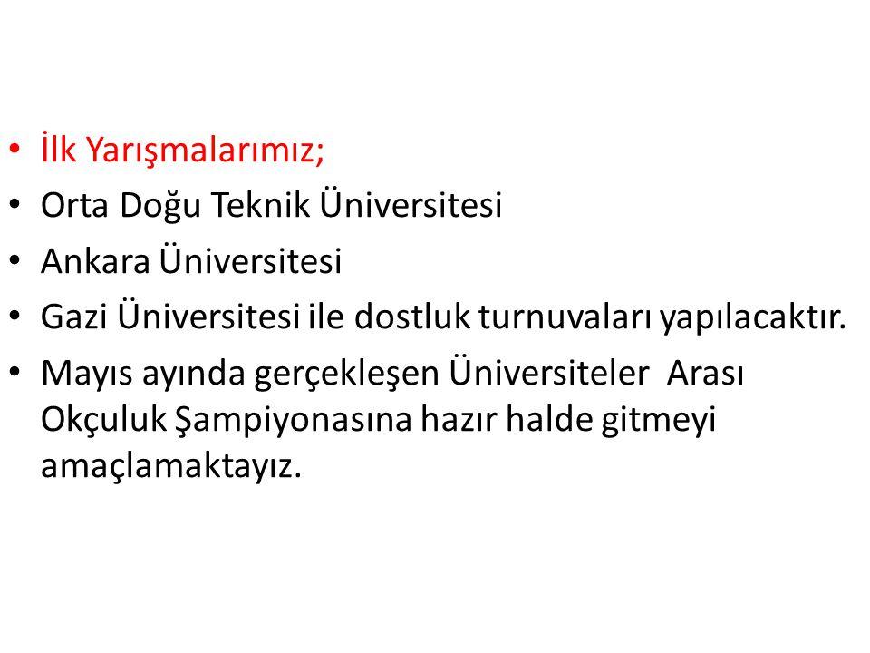 İlk Yarışmalarımız; Orta Doğu Teknik Üniversitesi. Ankara Üniversitesi. Gazi Üniversitesi ile dostluk turnuvaları yapılacaktır.