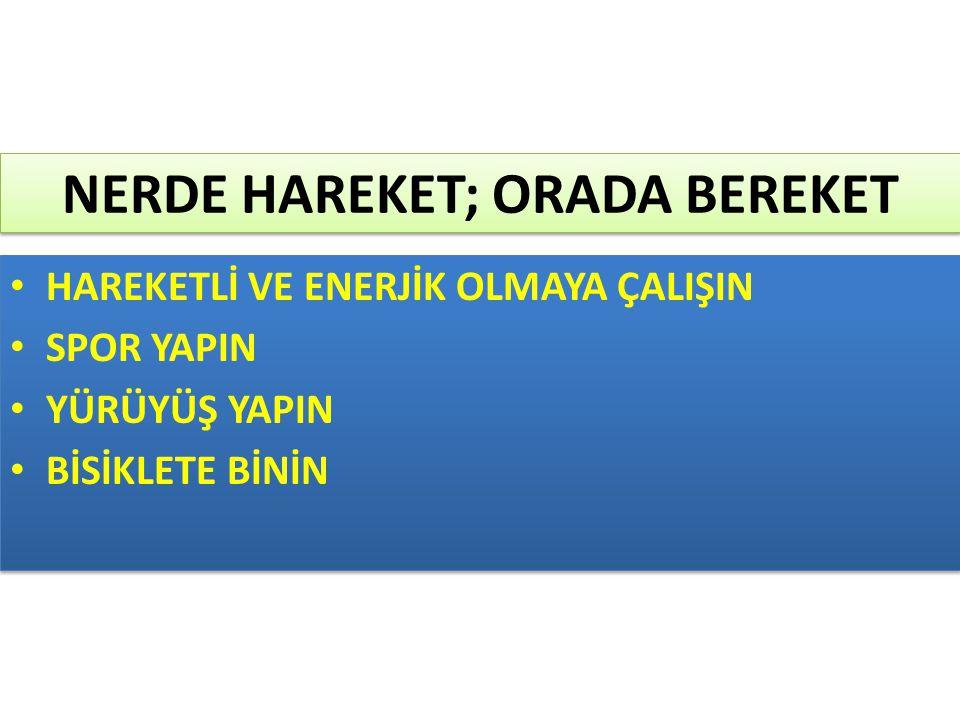 NERDE HAREKET; ORADA BEREKET