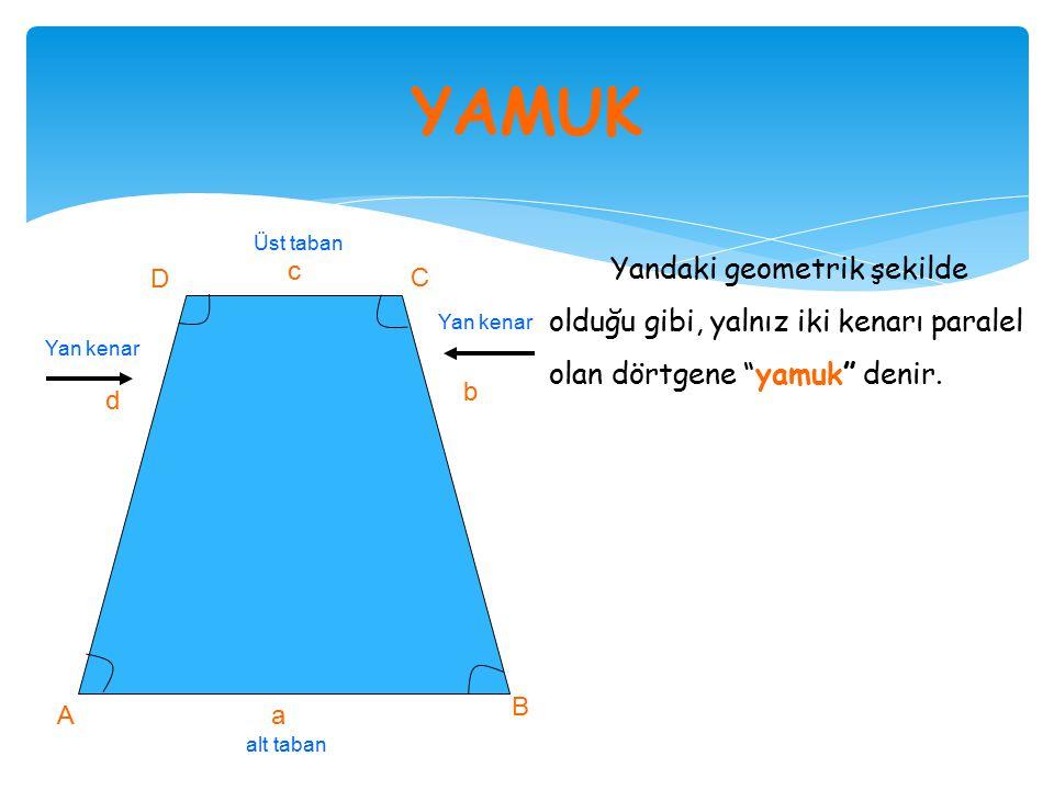 YAMUK Yandaki geometrik şekilde olduğu gibi, yalnız iki kenarı paralel