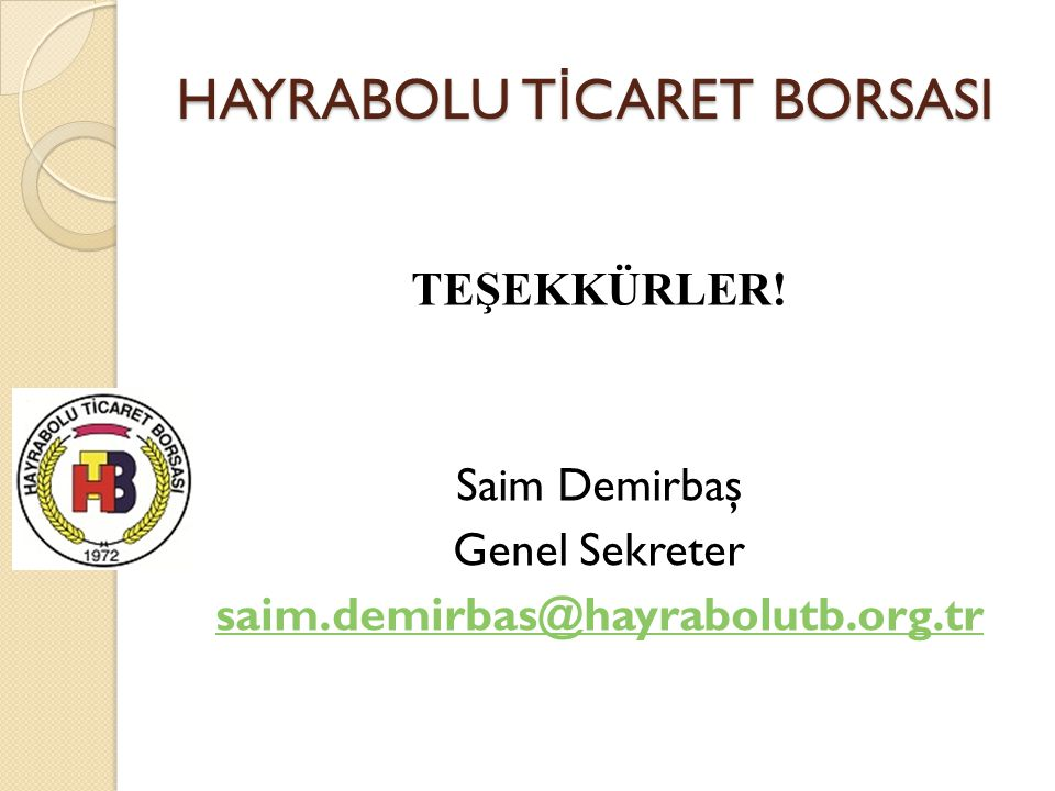 HAYRABOLU TİCARET BORSASI