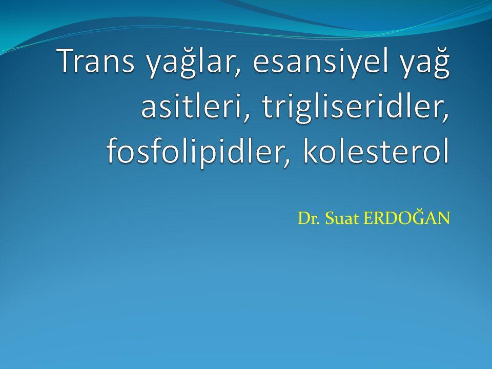 Trans yağlar, esansiyel yağ asitleri, trigliseridler, fosfolipidler, kolesterol