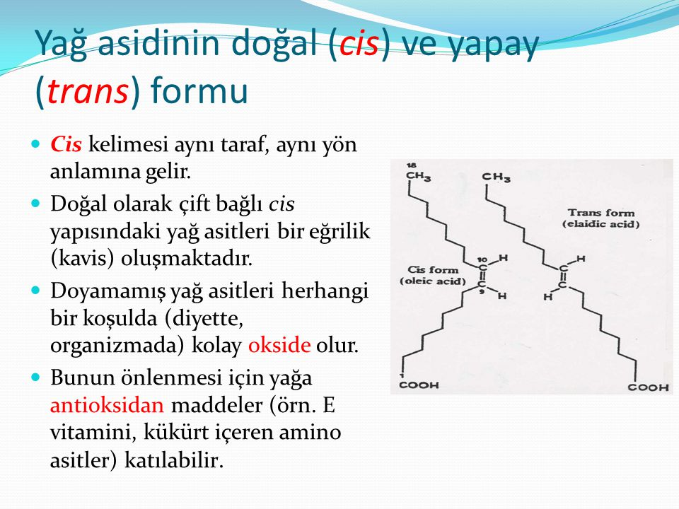 Yağ asidinin doğal (cis) ve yapay (trans) formu