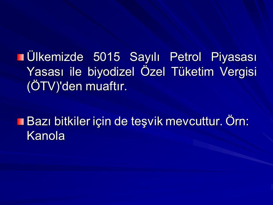 Ülkemizde 5015 Sayılı Petrol Piyasası Yasası ile biyodizel Özel Tüketim Vergisi (ÖTV) den muaftır.