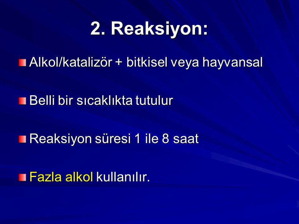 2. Reaksiyon: Alkol/katalizör + bitkisel veya hayvansal